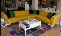 Yellow Leather Chesterfield Corner Sofa with coffee table
