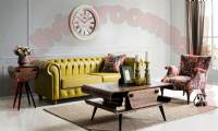 yellow leather chesterfield sofa design