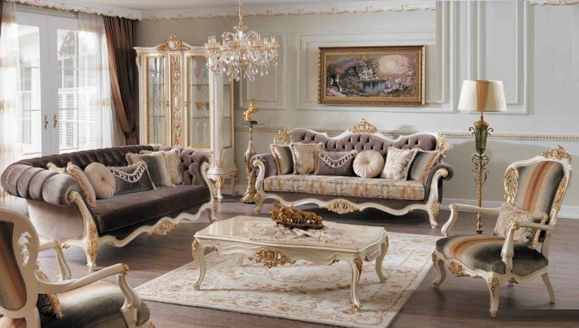 Traditional Luxury Living Room 4pc Sofa Set Carved Wood Trim Pillows Coffee table