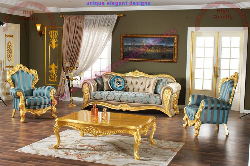 Traditional sofa set design carved leaf gorgeous design