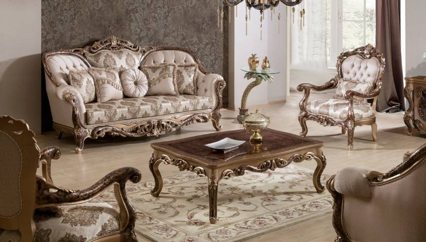 Traditional Victorian Luxury Sofa Loveseat Formal Living Room Furniture Set