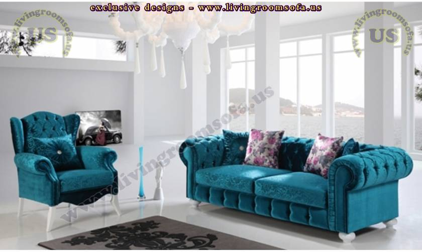 turquoise velvet chesterfield sofa set