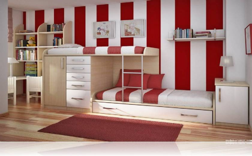 Twin Teenage Bedroom Design Modern Style Boys or Girls