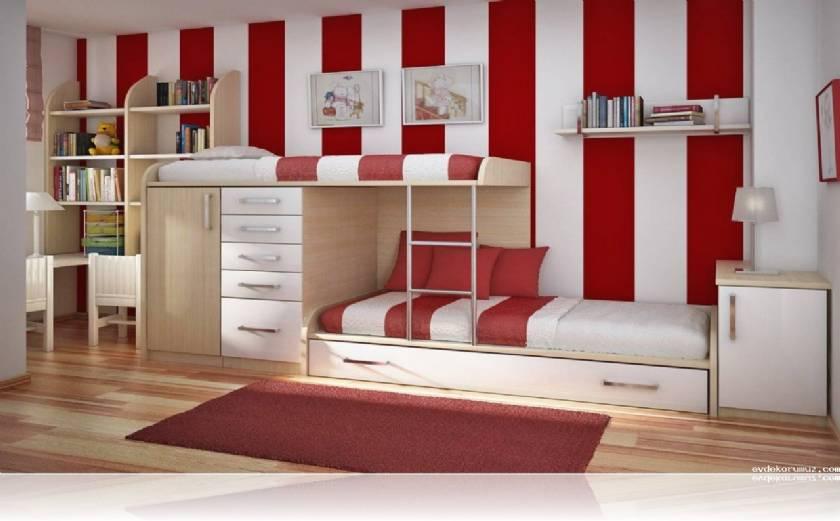 Twin Teenage Bedroom Design Modern Style Boys or Girls