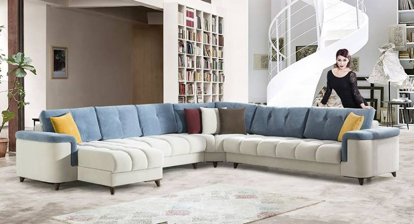 U shaped modern corner sofa with beds and lounges