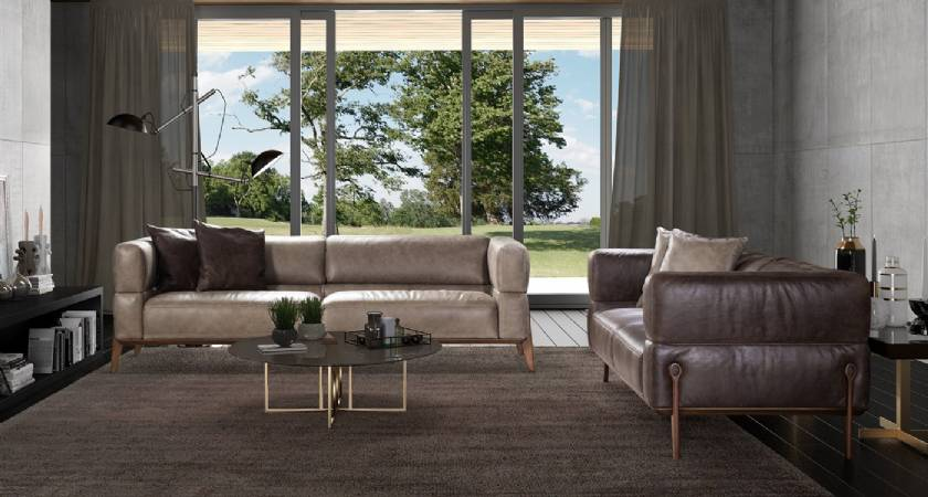 ultra modern leather sofa design for living room beige and gray leather