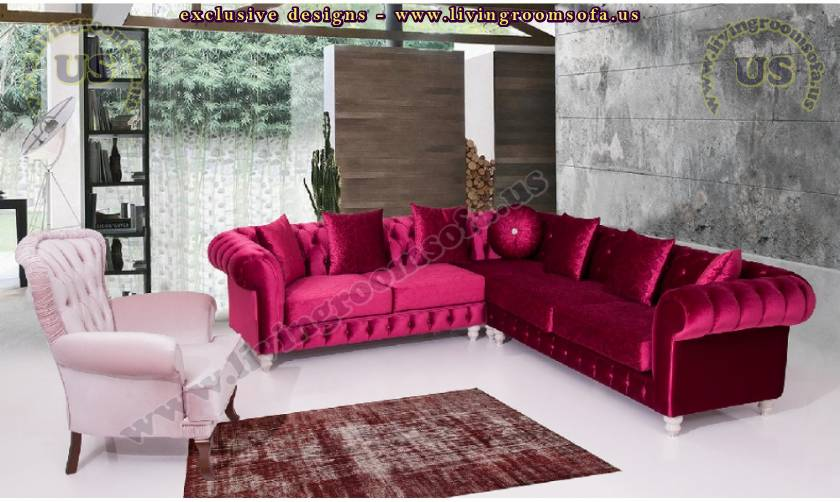 Velvet chesterfield sectional sofa set red white luxury elegant