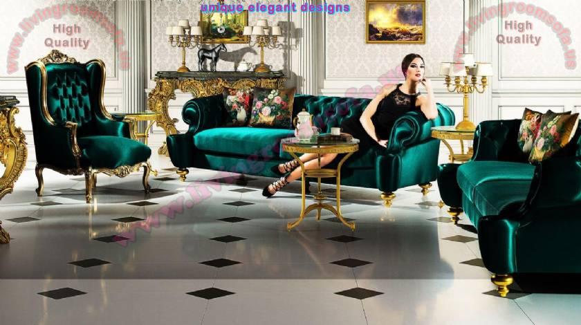 Velvet Luxurious Chesterfield Sofa Sets Classical Living Room Ideas