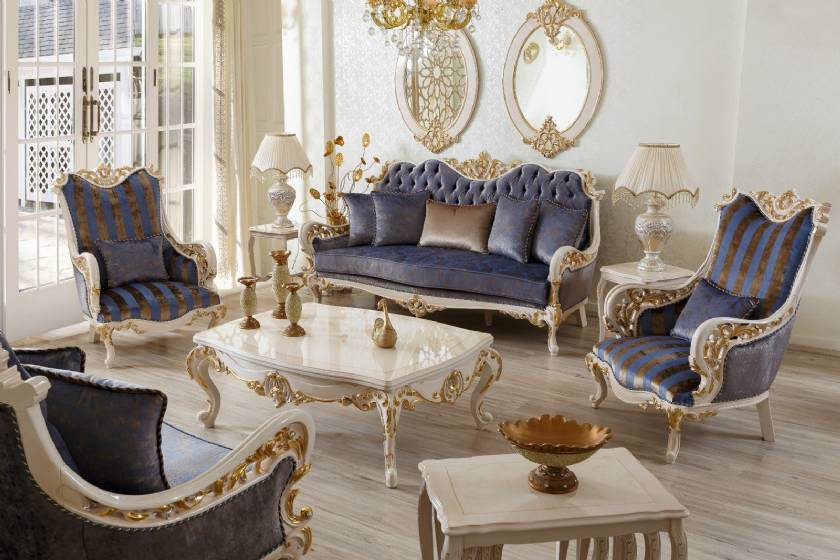 Vendome Victorian Luxury Living Room Sofa Set in Baroque Gold Patina