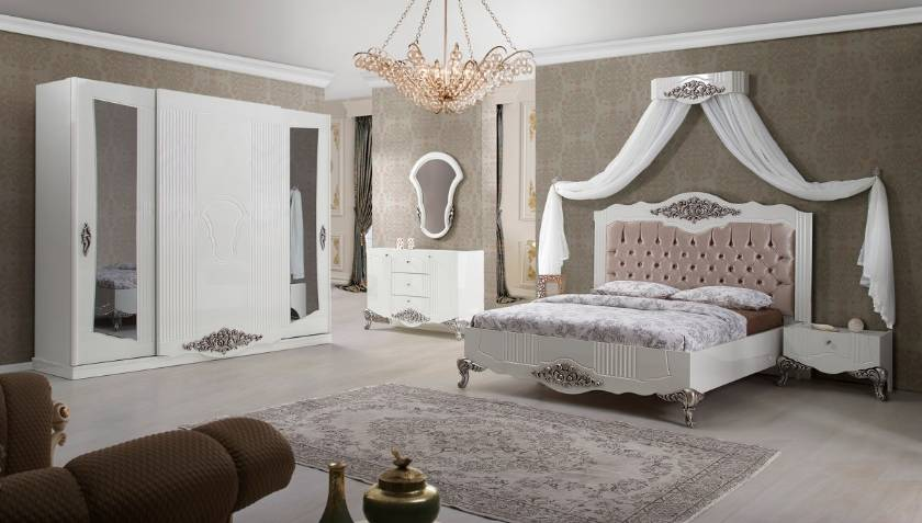 Victoria Luxury modern bedroom furniture white bedroom