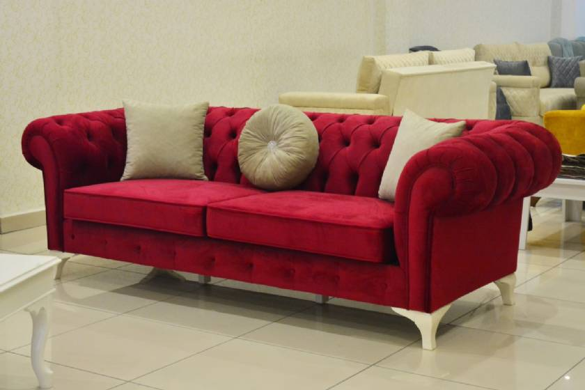Vintage English Red velvet chesterfield sofa couch ...