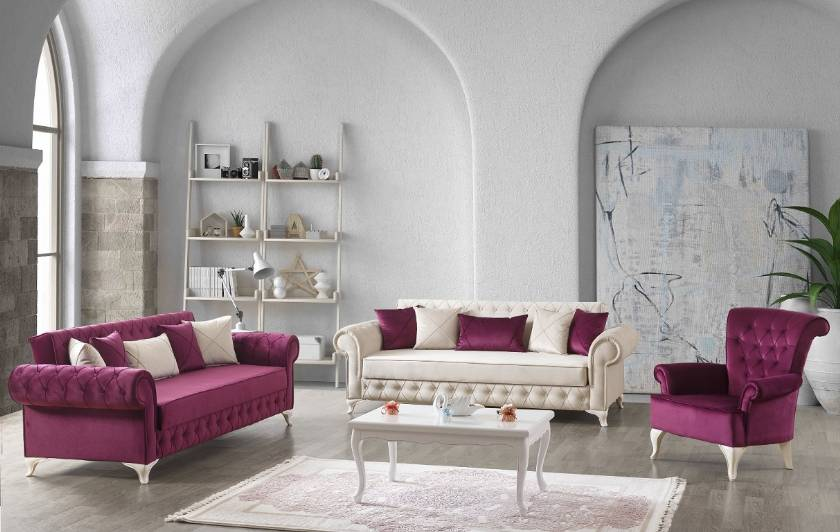 Violet Red and White Velvet Sofa Set Apartment Size Sofas