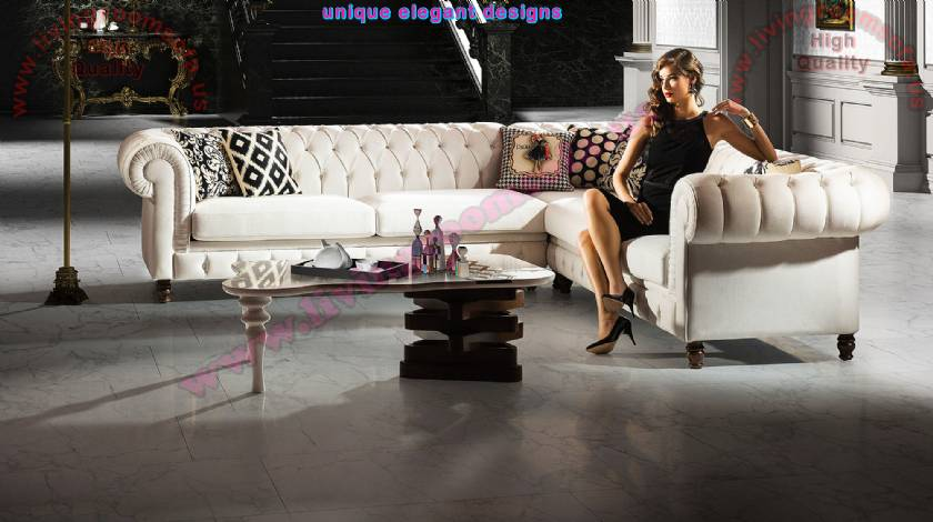 White L Shaped Chesterfield Corner Sofa Design