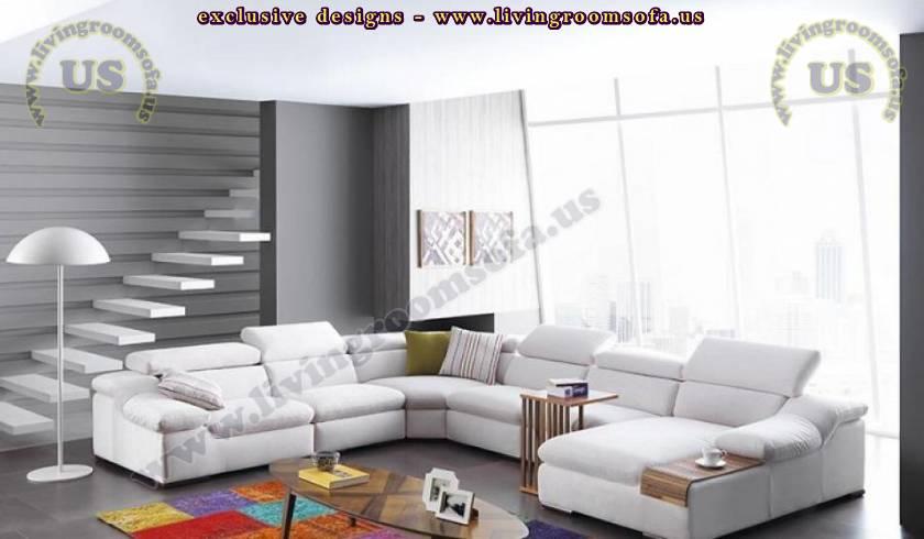 white modern sectional sofa design elegant living room
