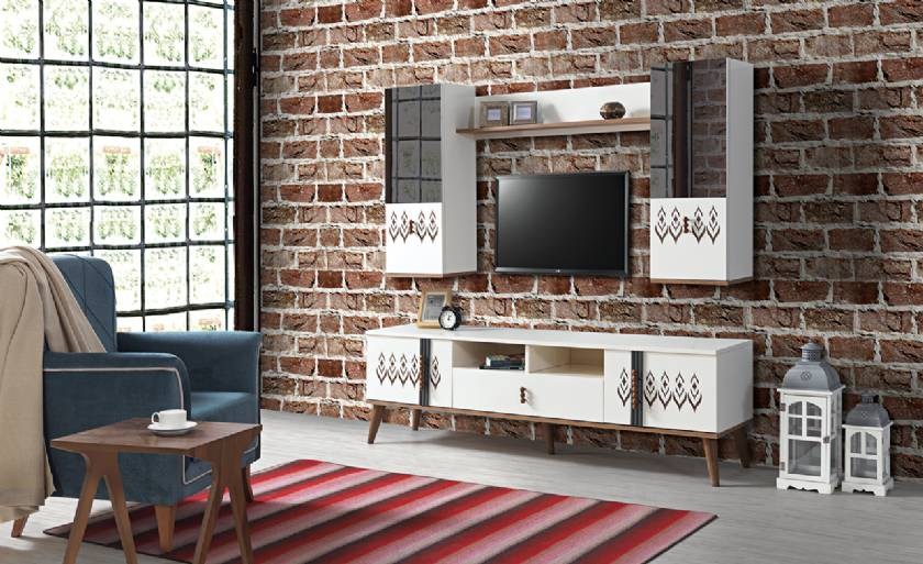 White modern TV Stand and Wall unit with blue chair