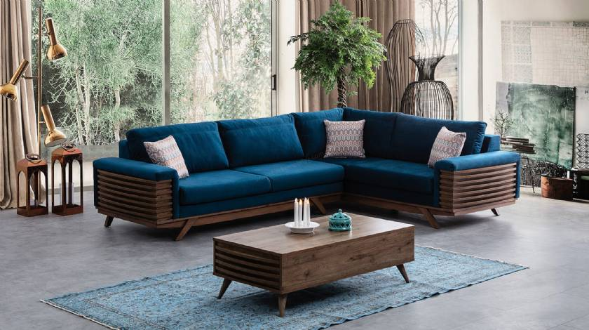 Wooden and blue modern corner sofa design with coffee table