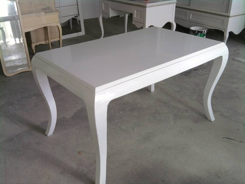 Wooden White Lacquer Table Luxury Dining Table