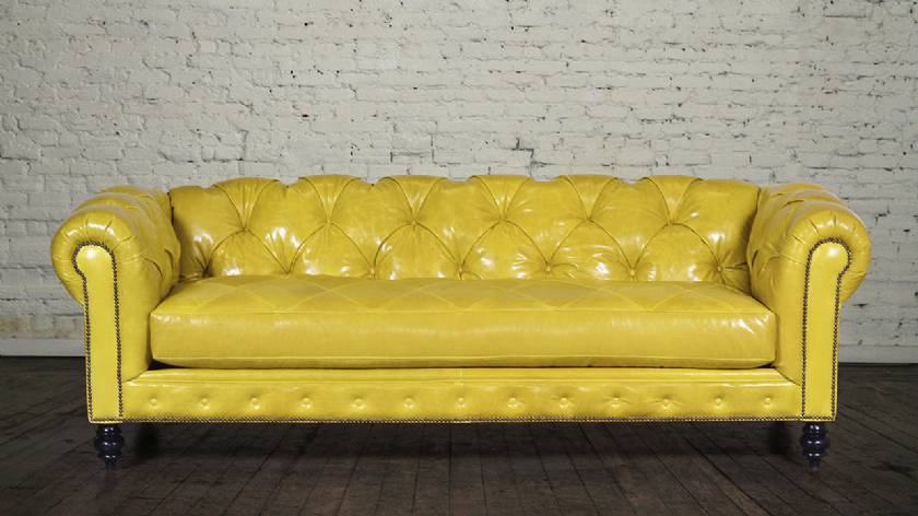 Yellow leather chesterfield sofa couch sliced quilted