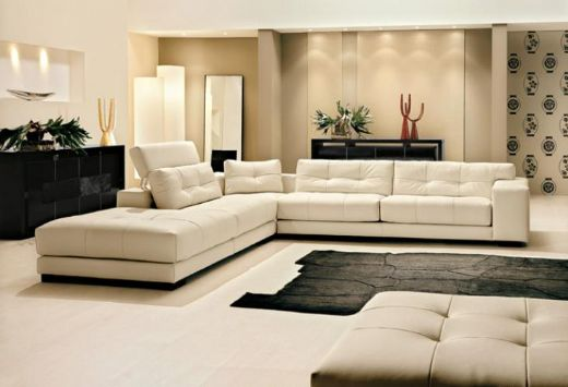Leather Livingroom Sofa White Leather