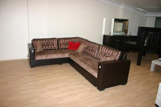 Dark Leather Livingroom Sofa, Modern Livingroom