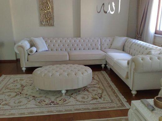 Modern Chesterfield Corner Sofa Leather