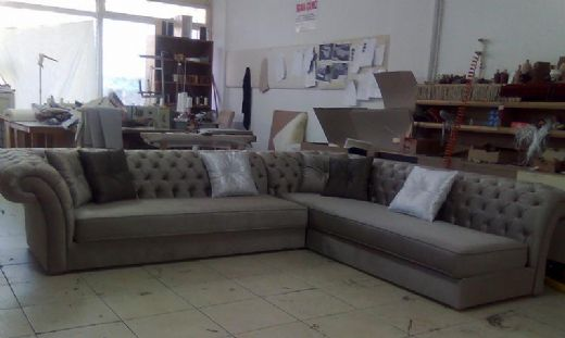 Chesterfield Corner Sofa, Fabric and Gray Perfectly