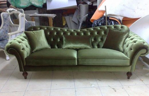 Chesterfield Sofa Green Fabric Classic