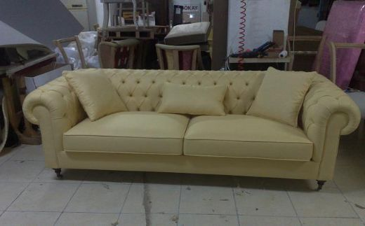 Leather Chesterfield Sofa, Yellow Leather