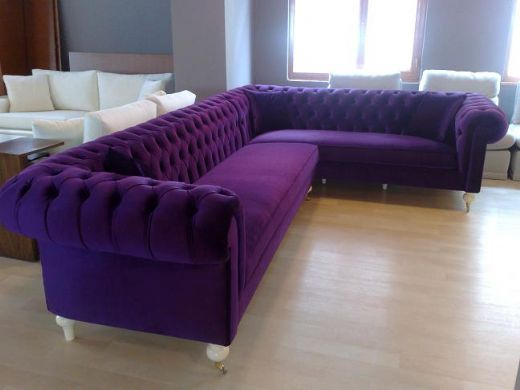 Velvet Chesterfield Style Corner Sofa Purple Modern
