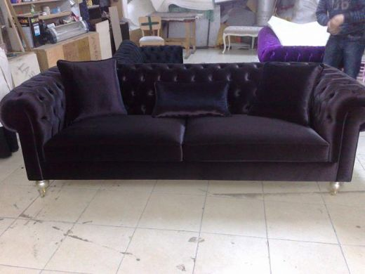 Velvet chesterfield style corner sofa purple modern interior design - Chesterfield Sofas Interior Design