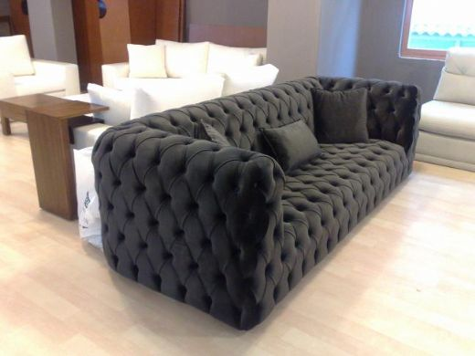 Black Fabric Modern Chesterfield Style Sofa