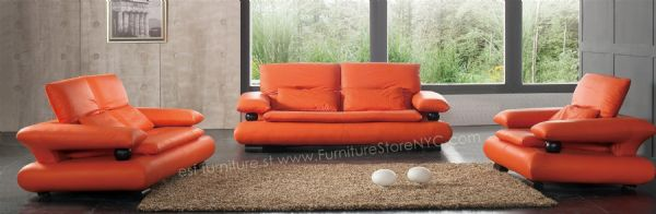 Modern Orange Sectional Sofa Set 3 2 1 Orange Leather Sofa Burnt Orange  Sectional Sofa