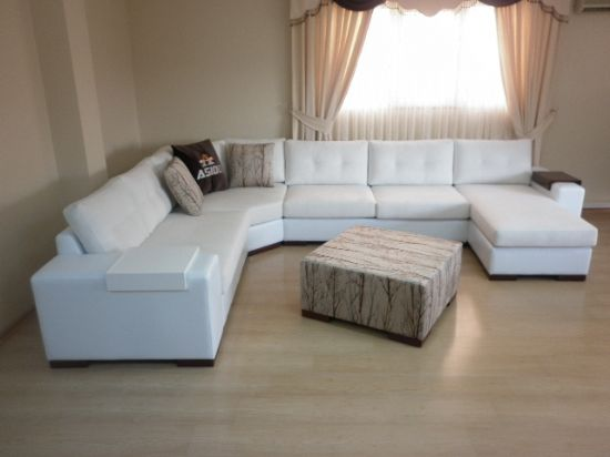 Sectional living room corner sofa with sleeper white for Brown corner sofa living room ideas
