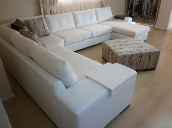 Sectional living room corner sofa with sleeper white for Corner sofa living room designs