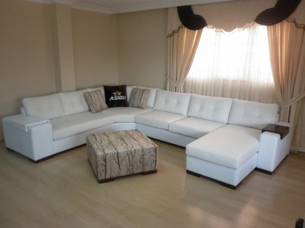 Sectional living room corner sofa with sleeper white for Exclusive sofa