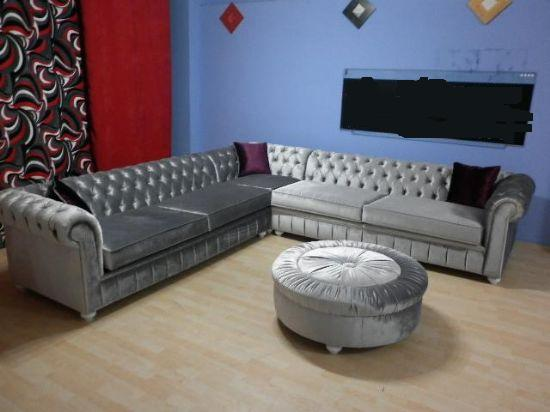 Bright grey velvet chesterfield corner sofa l shaped for Exclusive sofa