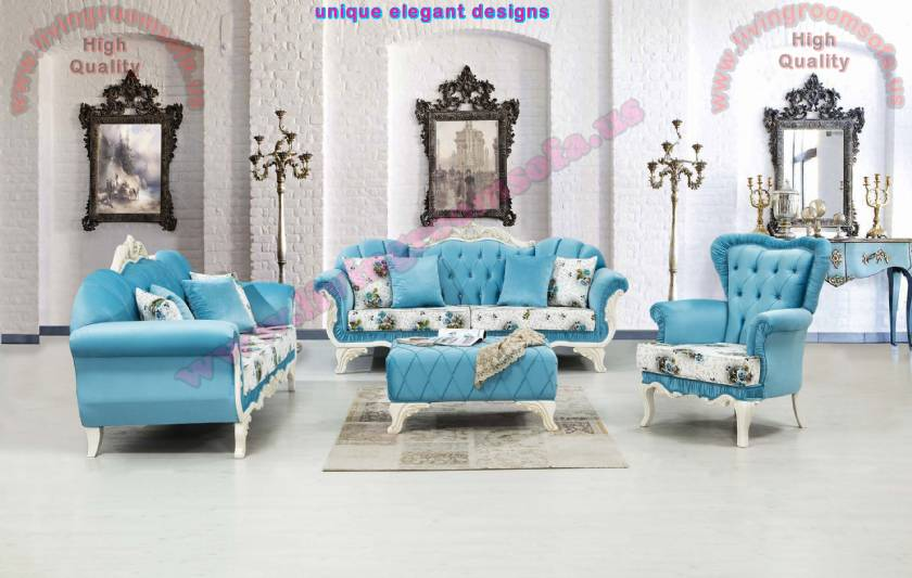 Blue Design Luxury Classic Living Room with Ottoman pouf
