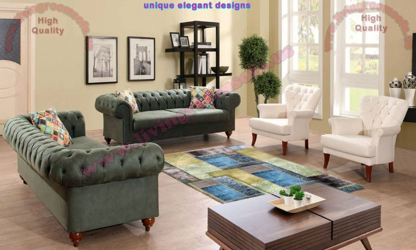 Green White Chesterfield Sofa Set Luxury Interior Design