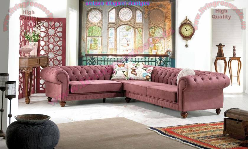 L Shaped Chesterfield Sofa Design Traditional Style modern nubuck