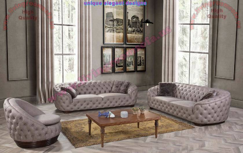 Linda Luxury Chesterfield Sofa Rounded Corners Leather handmade original quilting