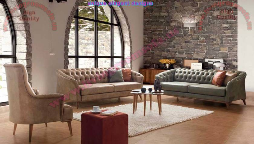 Tiny Chesterfield Sofa Set Modern Luxury Designs for Living Room