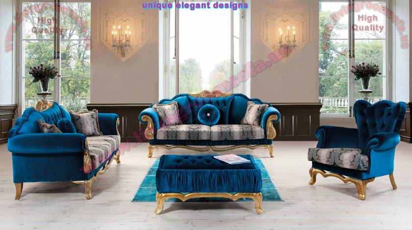 Traditional Luxury Living Room Sofa Design Velvet and Gold Leaf