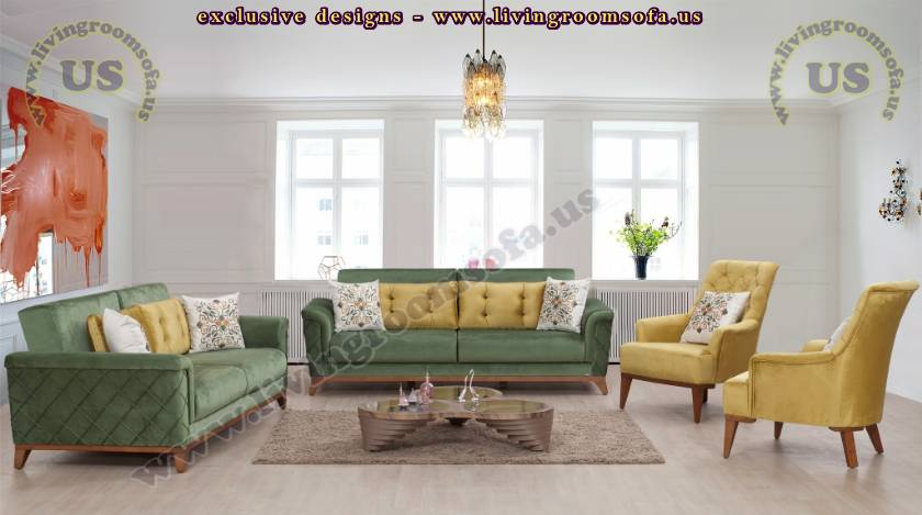 Beautiful Green Tones Back Padded Modern Quilted Sofa Ideas