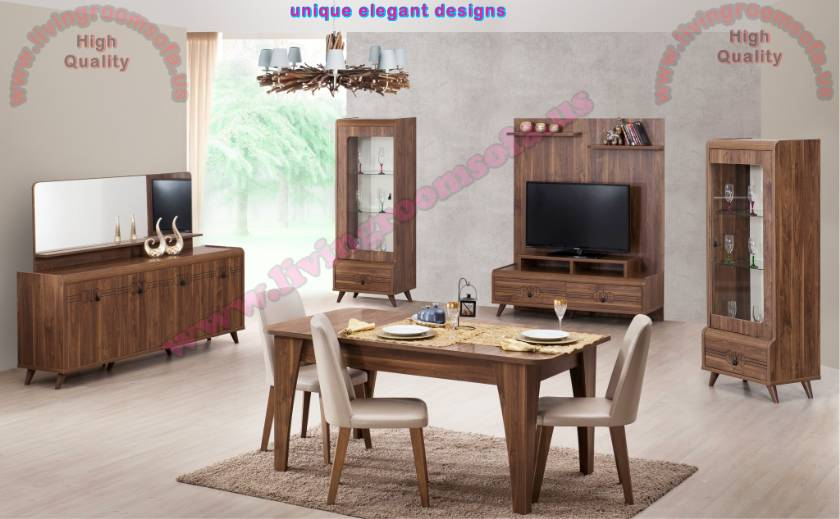 Brown Set Sumptuous Dining Room Modern Design