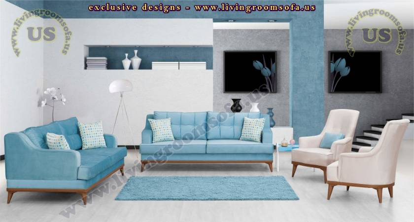 Ice Blue And White Harmony Modern Sofa Design