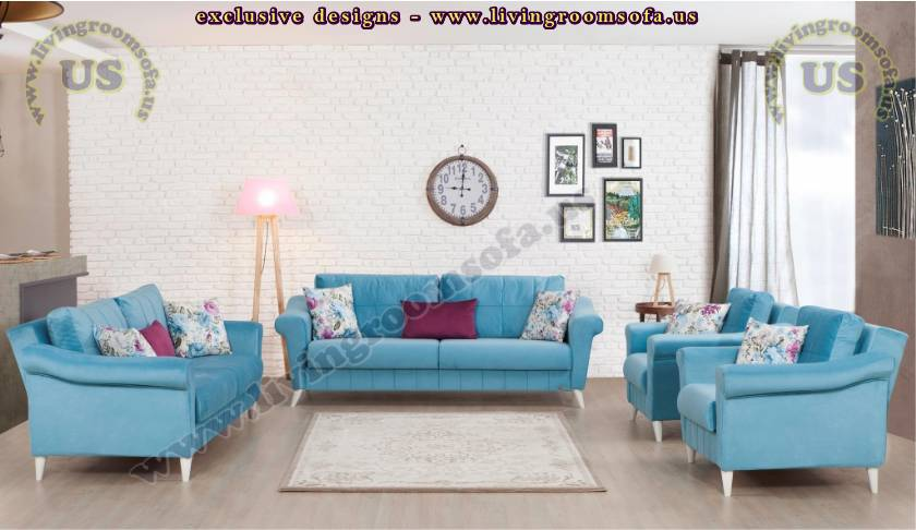 Magnificent Blue Attractive Modern Living Room Sofa Design Ideas