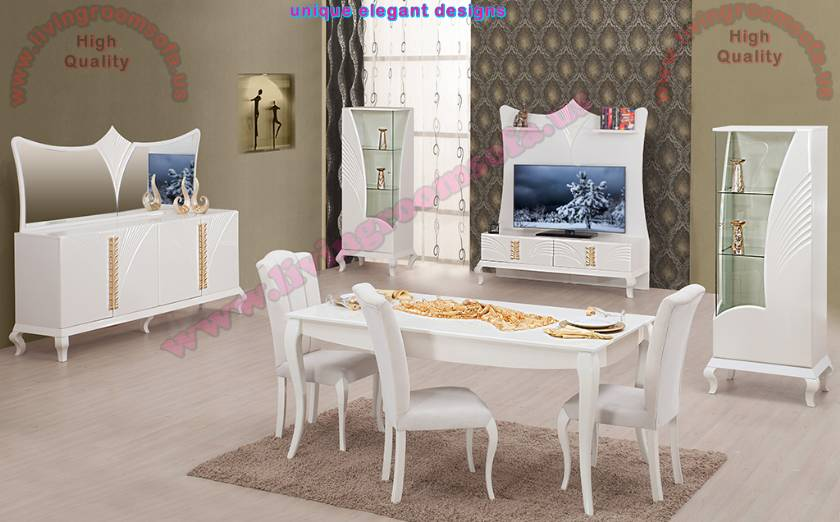 Modern Bright Pearl White Dining Room Sets