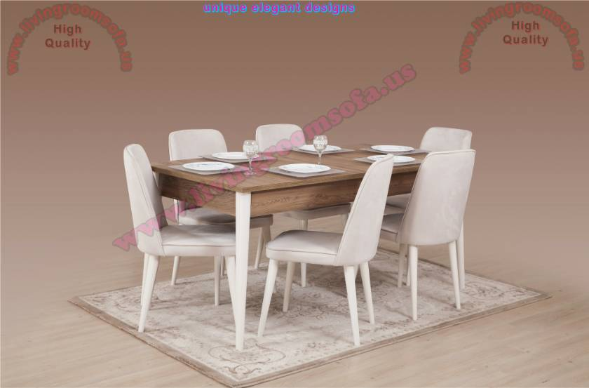 Modern Brown Dining Room Table and White Dining Chairs