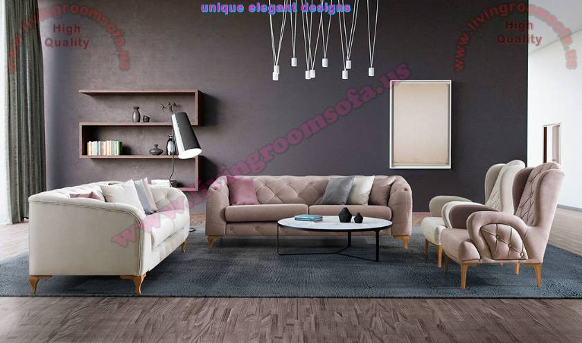 Modern Cream QuilTed Living Room Sofa Design