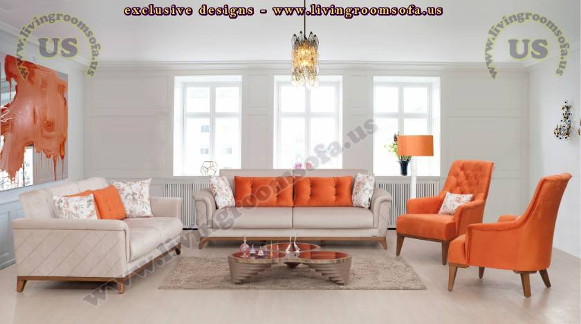 Orange Elegance Back Padded Modern Living Room Sofa